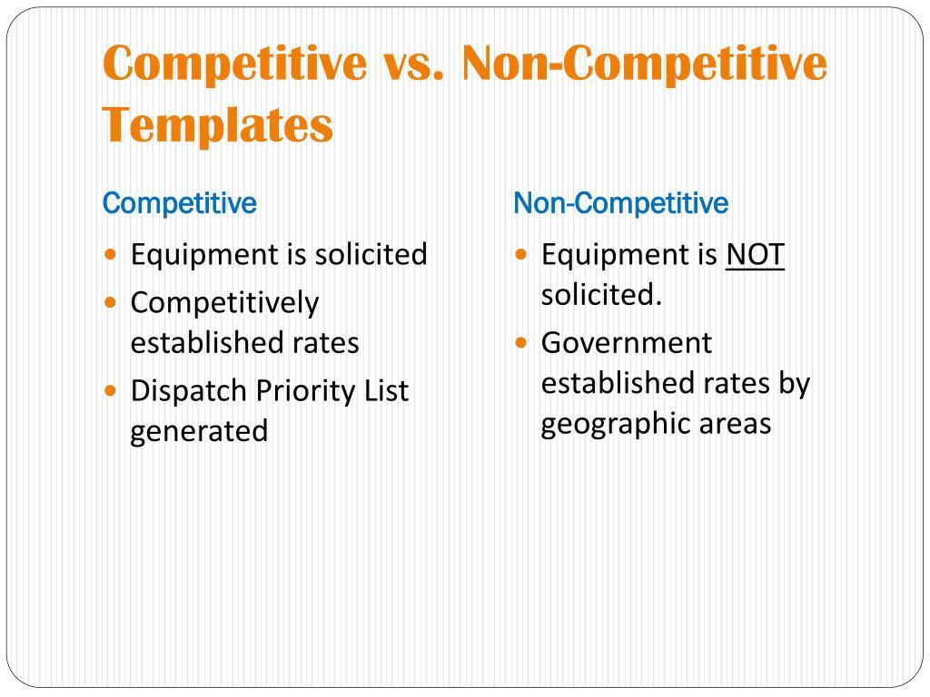 Competitive vs. Non-Competitive Templates