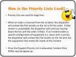 how is the priority lists used