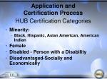 application and certification process hub certification categories