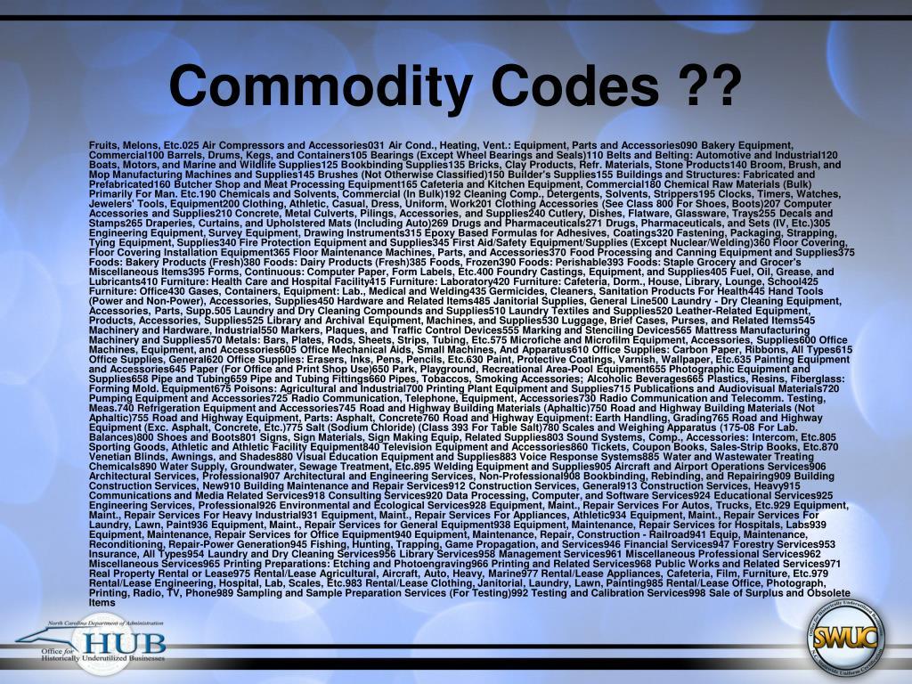 Commodity Codes ??