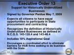executive order 13 support for historically underutilized businesses