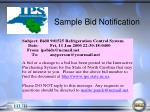 sample bid notification