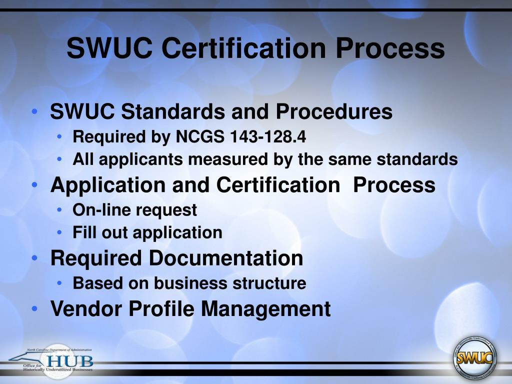 SWUC Certification Process