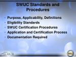 swuc standards and procedures
