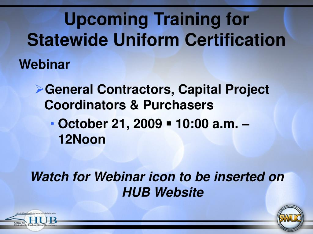 Upcoming Training for