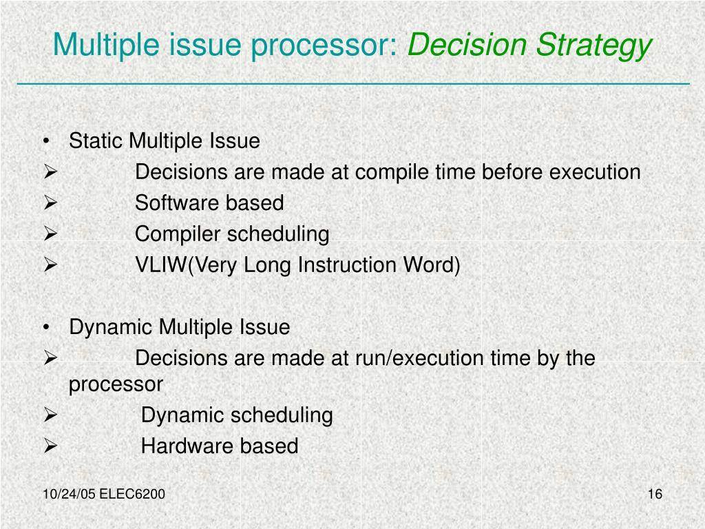 Multiple issue processor: