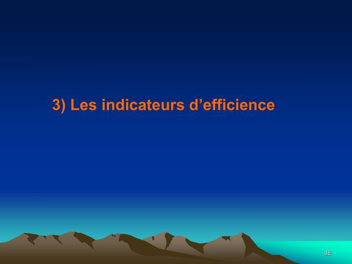 3) Les indicateurs d'efficience
