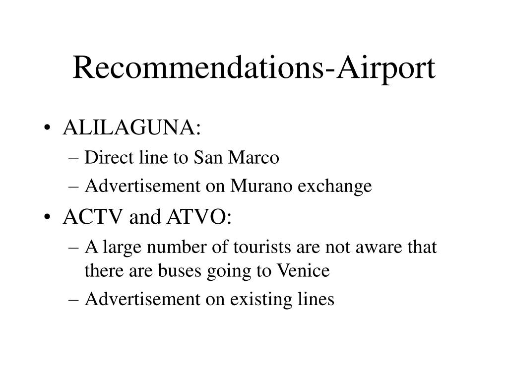 Recommendations-Airport