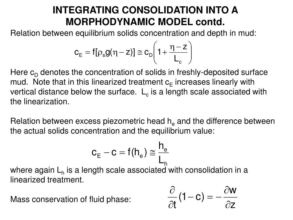 INTEGRATING CONSOLIDATION INTO A MORPHODYNAMIC MODEL contd.