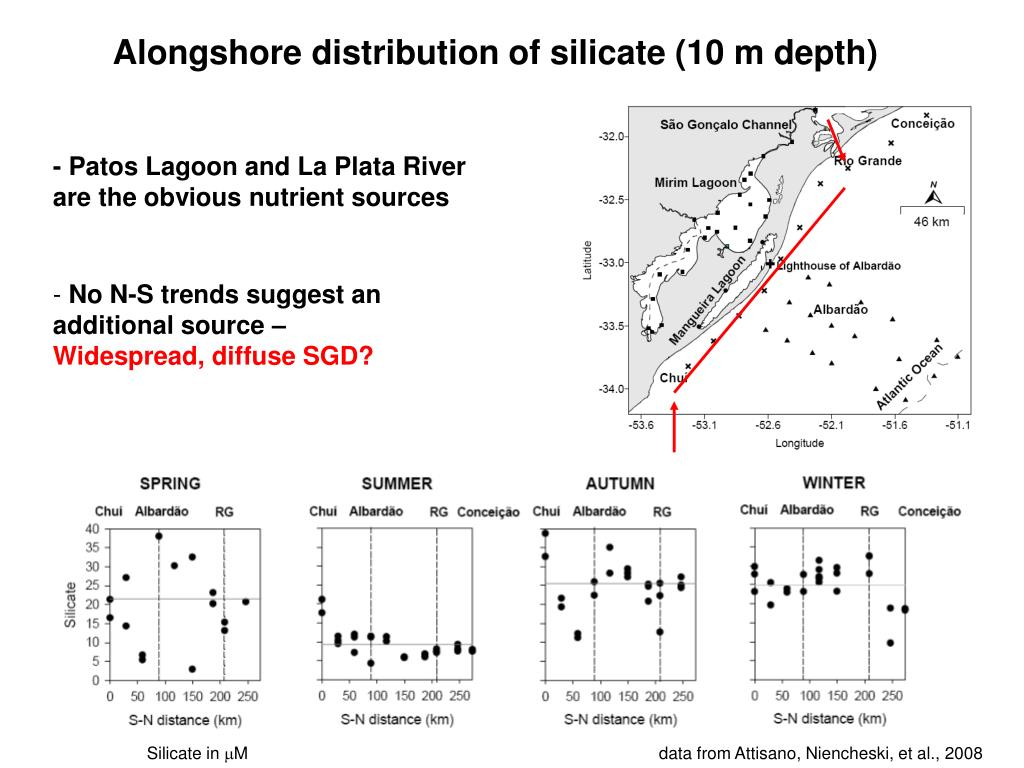 Alongshore distribution of silicate (10 m depth)