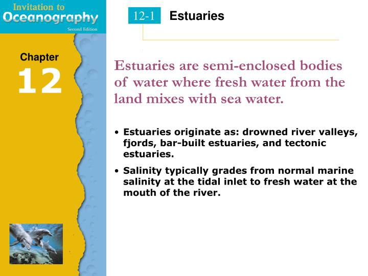 Estuaries are semi enclosed bodies of water where fresh water from the land mixes with sea water