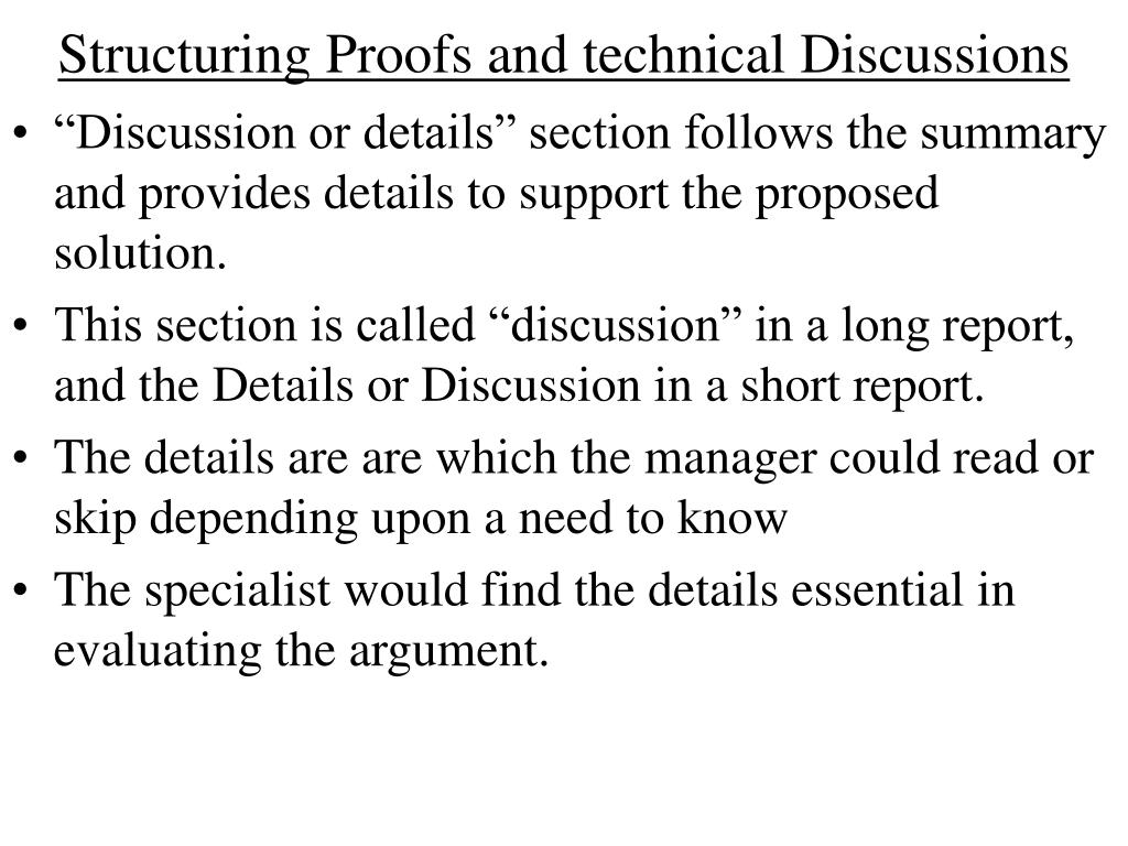 Structuring Proofs and technical Discussions