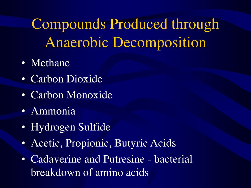 Compounds Produced through Anaerobic Decomposition