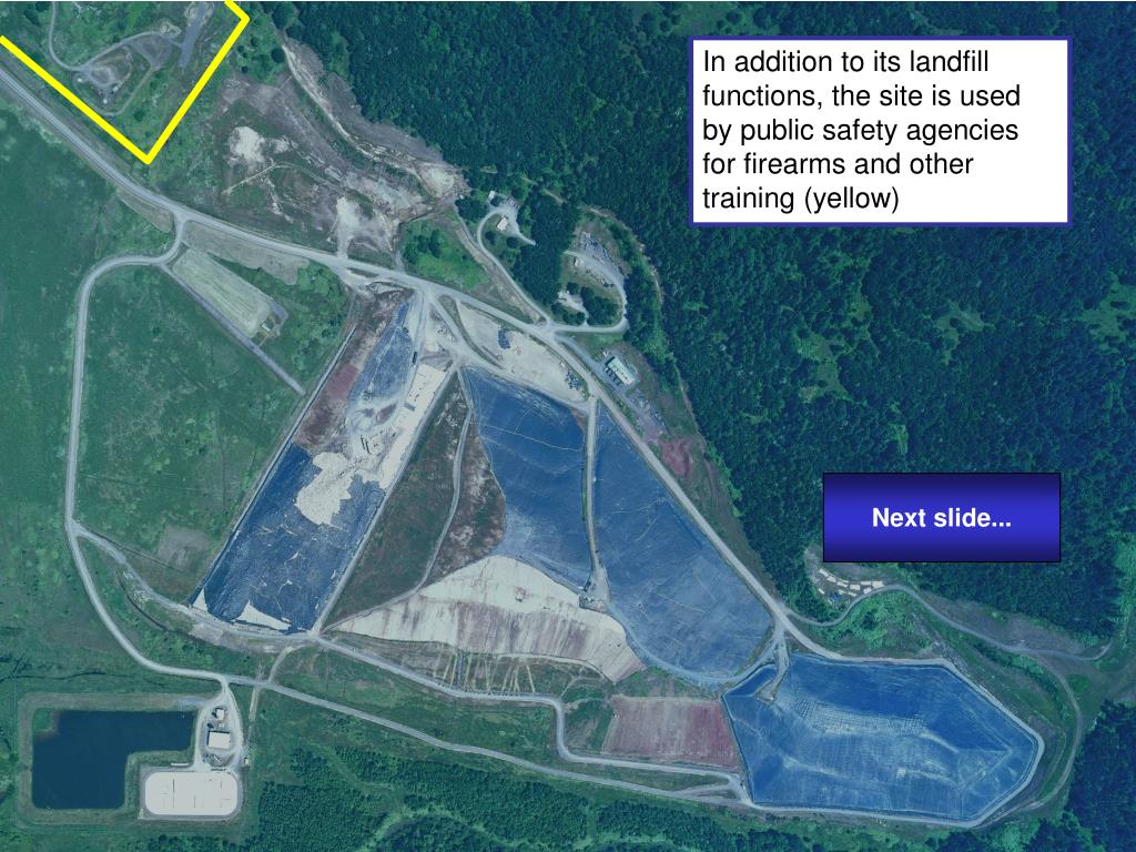 In addition to its landfill functions, the site is used by public safety agencies for firearms and other training (yellow)