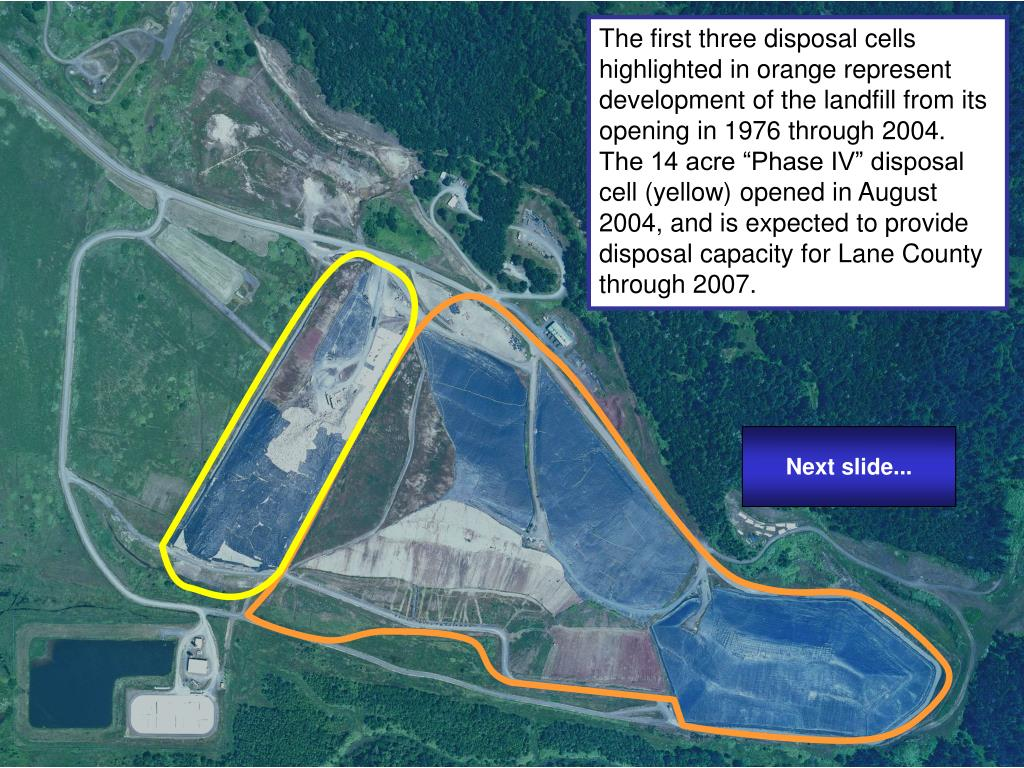 "The first three disposal cells highlighted in orange represent development of the landfill from its opening in 1976 through 2004.  The 14 acre ""Phase IV"" disposal cell (yellow) opened in August 2004, and is expected to provide disposal capacity for Lane County through 2007."