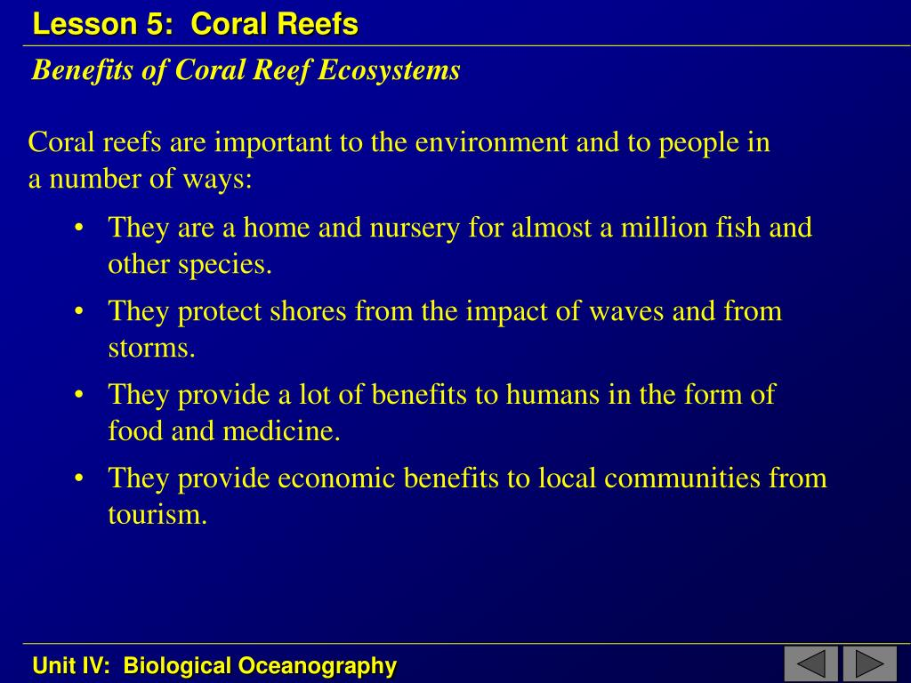 Benefits of Coral Reef Ecosystems