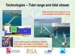 technologies tidal range and tidal stream