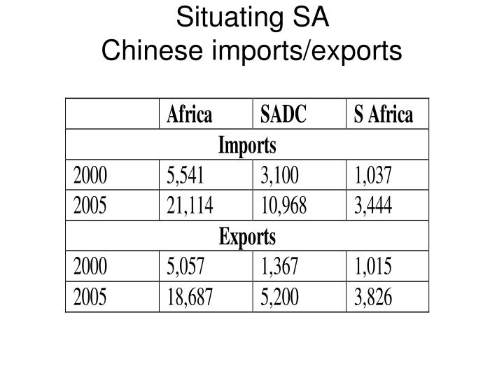 Situating sa chinese imports exports