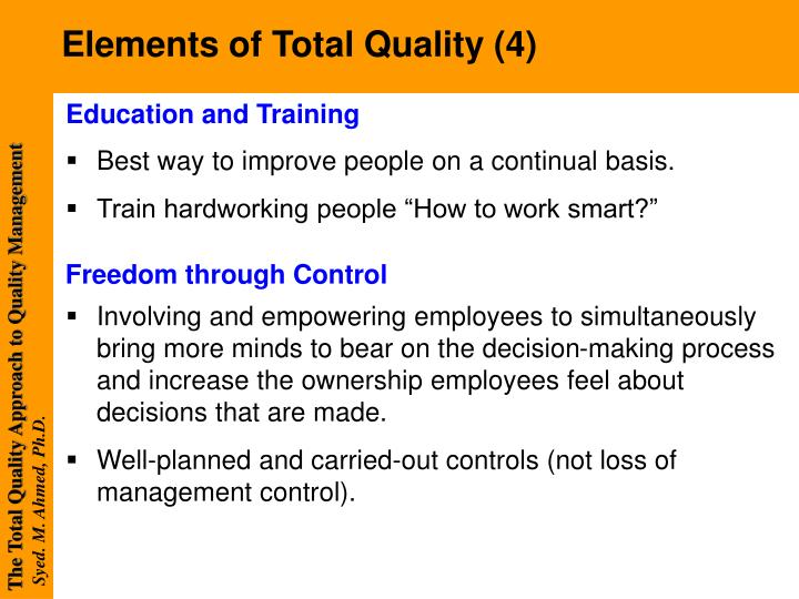 introduction and implementation of total quality To from excellence quality introduction tqm is the way of managing for the future, and is far wider in its application than just assuring product or service quality - it is a way of managing people and business processes to ensure complete customer.