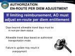 authorization en route per diem adjustment