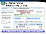 authorization finding the ct cost