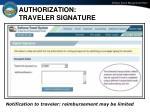 authorization traveler signature