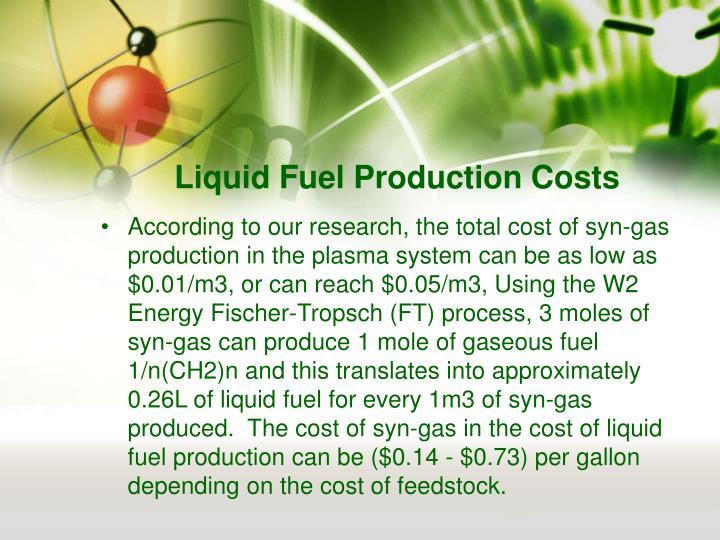 Liquid Fuel Production Costs