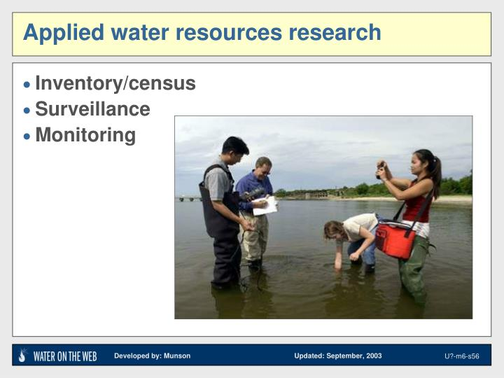 Applied water resources research