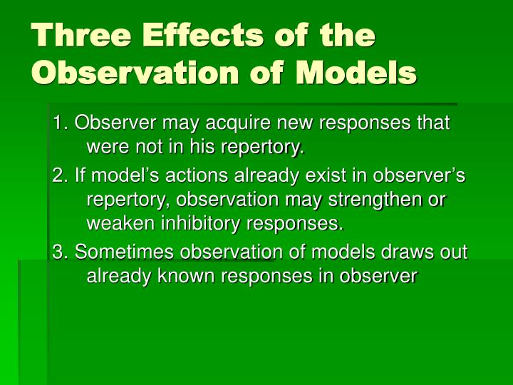 Three Effects of the Observation of Models