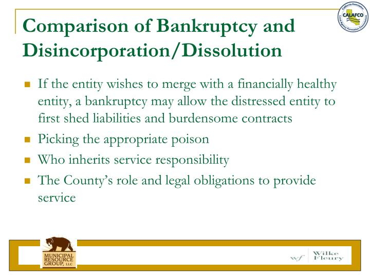 Comparison of Bankruptcy and Disincorporation/Dissolution