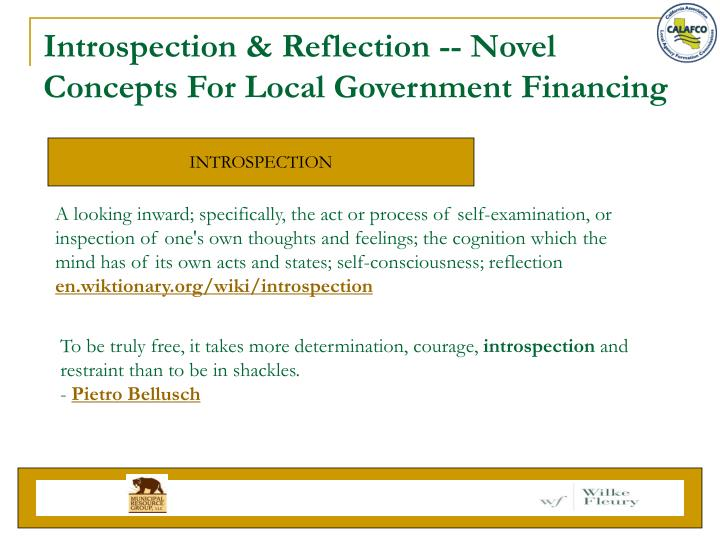 Introspection & Reflection -- Novel Concepts For Local Government Financing