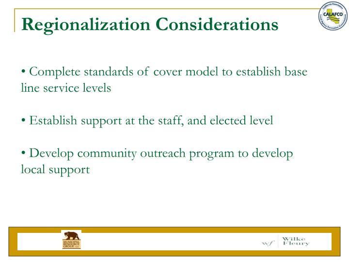 Regionalization Considerations