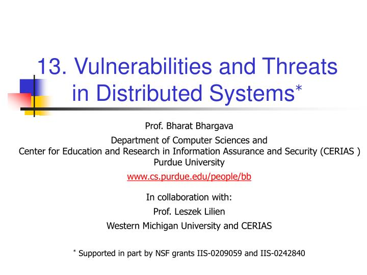 13 vulnerabilities and threats in distributed systems n.