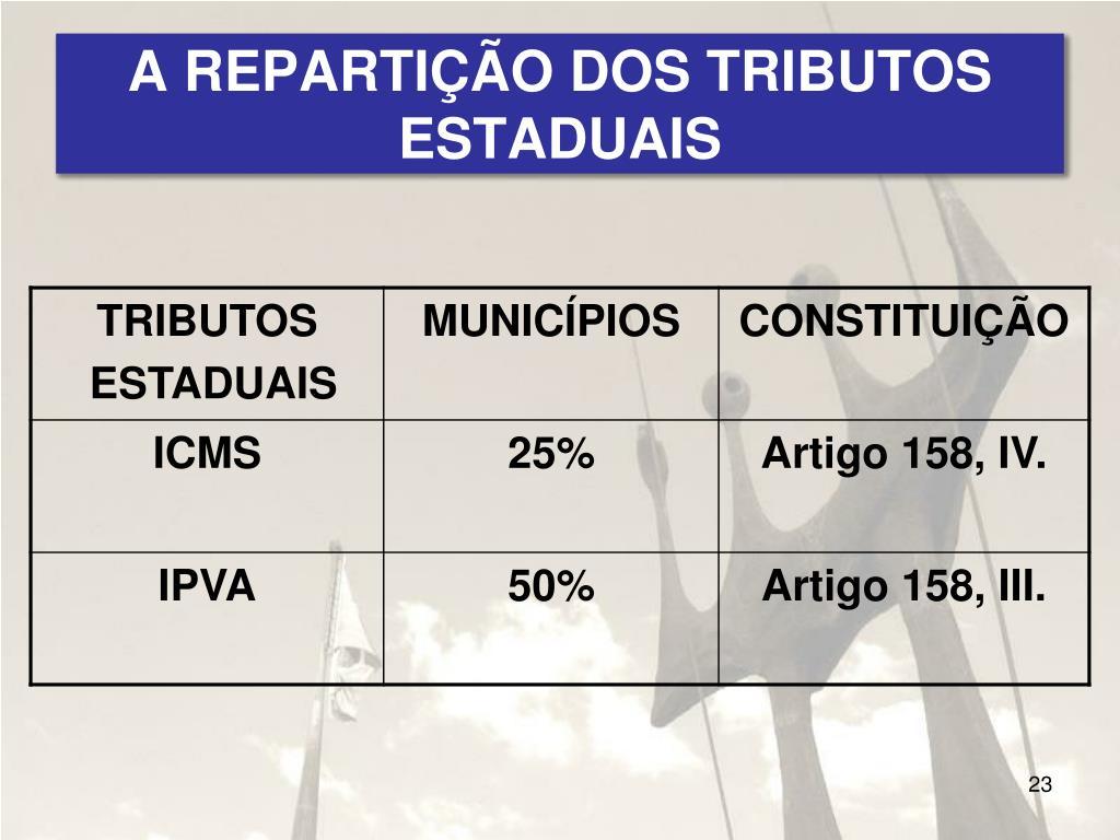 A REPARTIÇÃO DOS TRIBUTOS ESTADUAIS