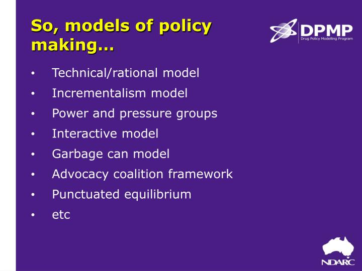 garbage can model of policy making
