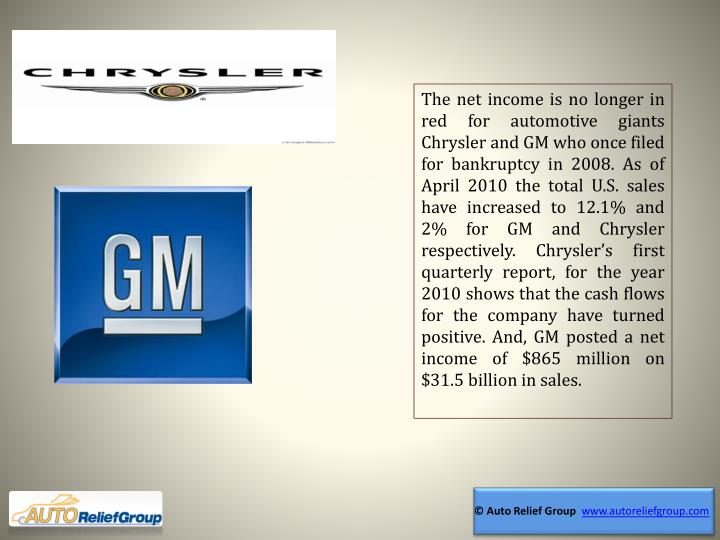 The net income is no longer in red for automotive giants Chrysler and GM who once filed for bankrupt...