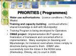 priorities programmes