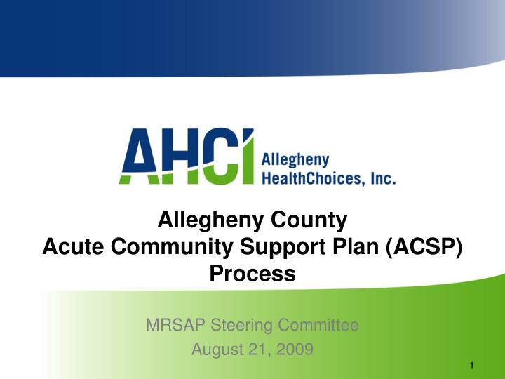 allegheny county acute community support plan acsp process n.