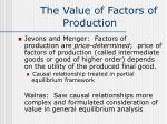 the value of factors of production