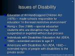 issues of disability
