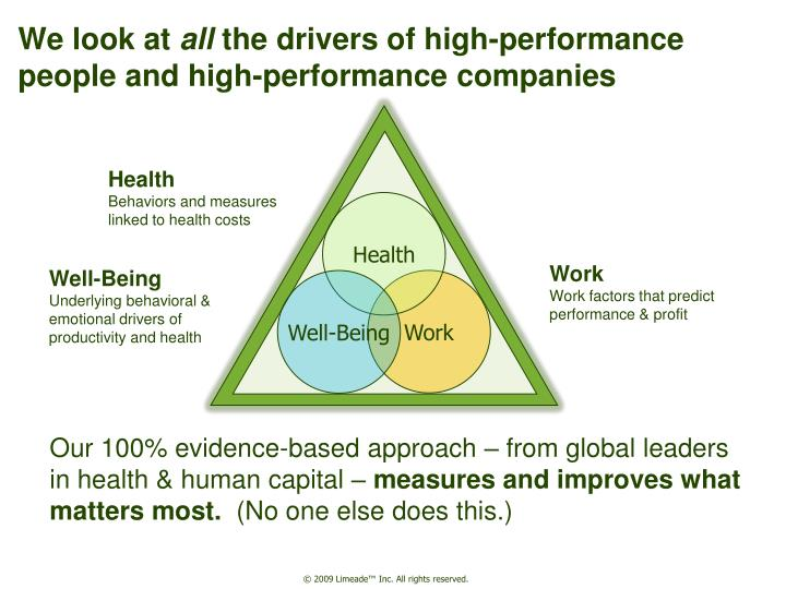 We look at all the drivers of high performance people and high performance companies