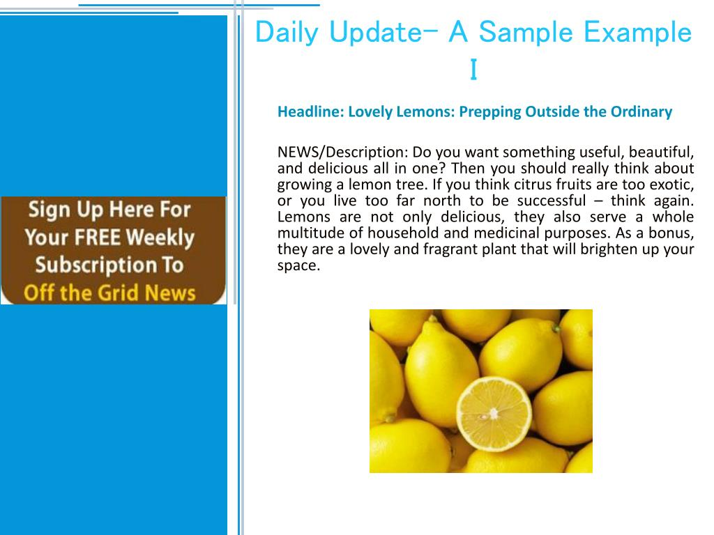 Daily Update- A Sample Example I