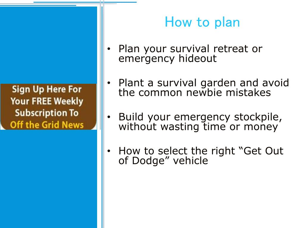 How to plan