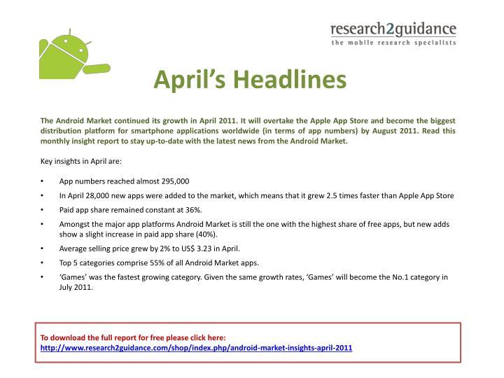 April s headlines