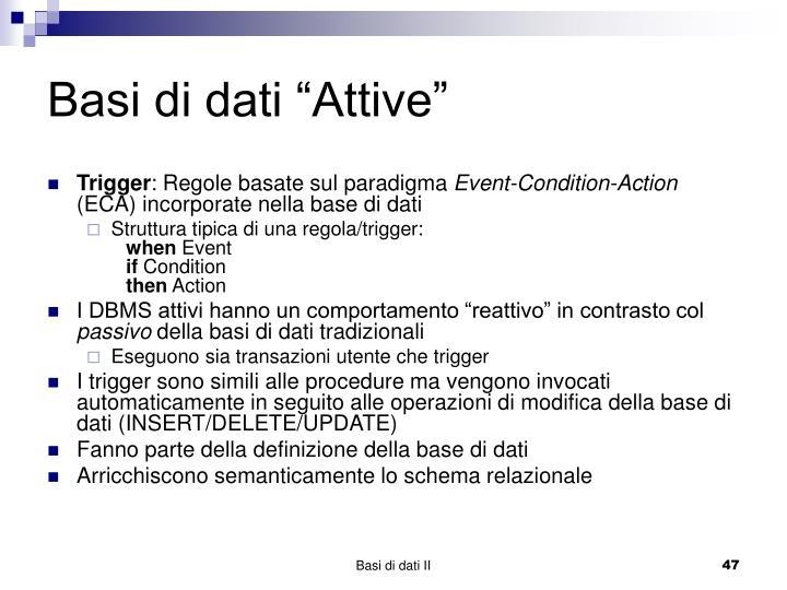 """Basi di dati """"Attive"""""""