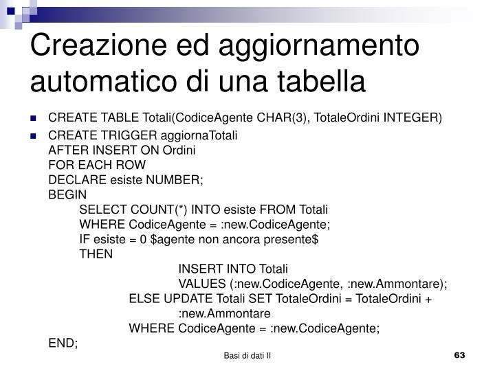 Creazione ed aggiornamento automatico di una tabella