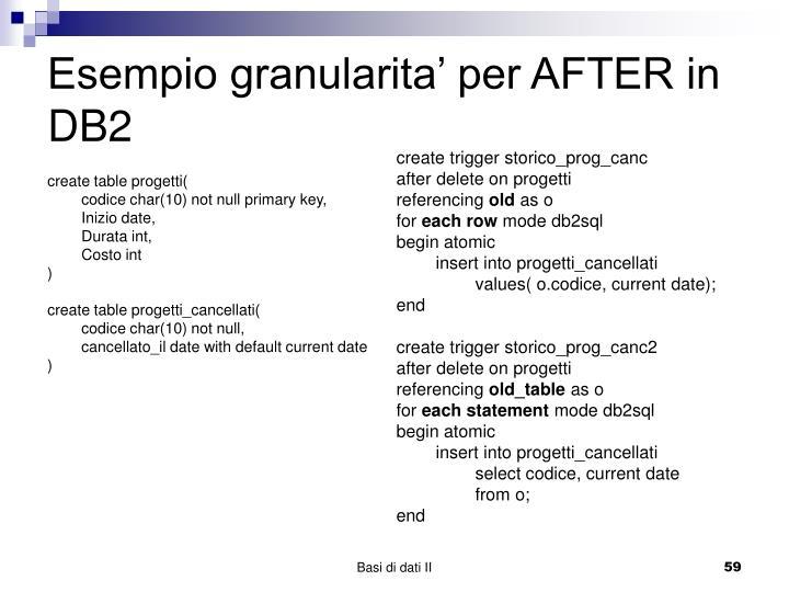 Esempio granularita' per AFTER in DB2