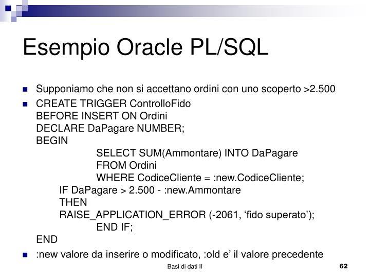 Esempio Oracle PL/SQL