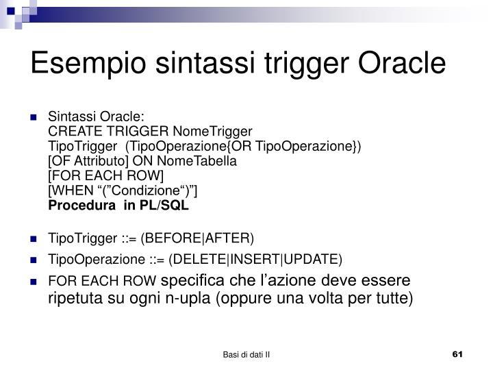 Esempio sintassi trigger Oracle