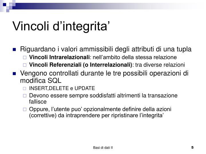 Vincoli d'integrita'